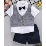 ToffyHouse Party Wear Half Sleeves Shirt With Waistcoat and Shorts – Navy Blue White