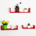 Floating Wall Shelf (Set of 3) in Red Finish by DecorNation