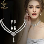 Bridal Jewelry Sets Rhinestone Pearl Drop NECKLACE