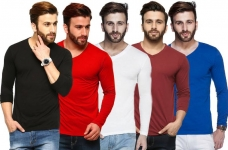 Solid Men V-Neck Multicolor, Black, Red, White T-Shirt