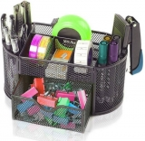 Tuelip 7 Compartments Metal Mesh Multi-Purpose Desktop Organizer Pen Stand Black