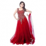 V KARAN Red Net Embroidered Semi Stitched Gown