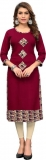 Women Printed, Solid Straight Kurta  (Maroon)