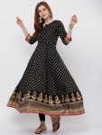 Vishudh Women Black & Gold-Toned Printed Anarkali Kurta