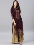 Burgundy & Gold-Toned Printed Straight Kurta only at rs. 574