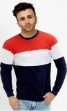 Color block Men Round or Crew Red, White, Dark Blue T-Shirt