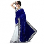 White World Creation Blue Velvet and Net Embroidered Saree