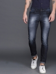 WROGN Men Navy Blue Slim Fit Mid-Rise Stretchable Jeans