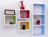 Boxy Modular Wall Shelf (Set of 6) in Multicolor Finish by Dream Arts