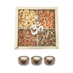 Diwali Gifts Om Engraved Dry Fruits Wooden Gift Box