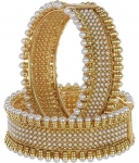 Gold Plated Pearl Bracelets Bangles for Women and Girls