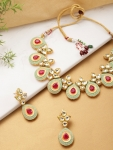 Sea Green & Pink Gold-Plated Handcrafted Jewellery Set