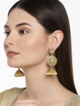 Pearls Gold -Toned & White Classic Jhumkas