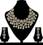 Zaveri Pearls  Zinc Jewel Set  (Gold, White)