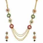 Alloy Multi-Strand Necklace Set with Earrings for Women