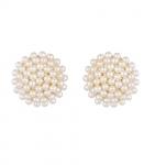 Zeneme Pearl Engraved Office Push Back Stud Earrings
