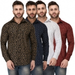 Zories Men's Multicolor Comfort Fit Shirts (Pack Of 4)